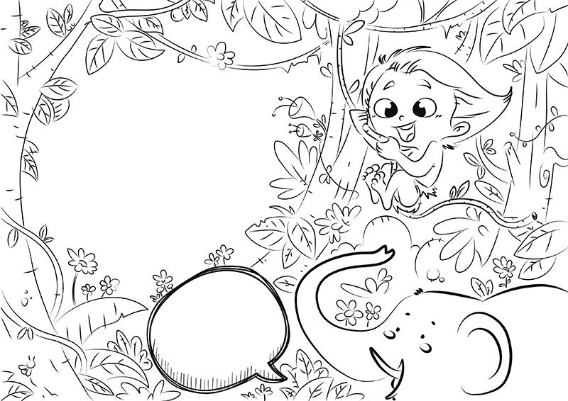 Dibujo Para Colorear De Un Nino Salvaje En La Selva Con Una Liana