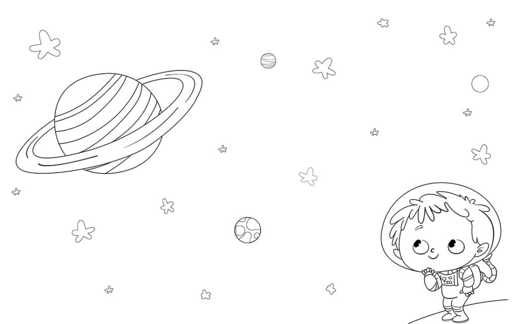 Astronaut boy on a planet looking at the stars. Coloring page