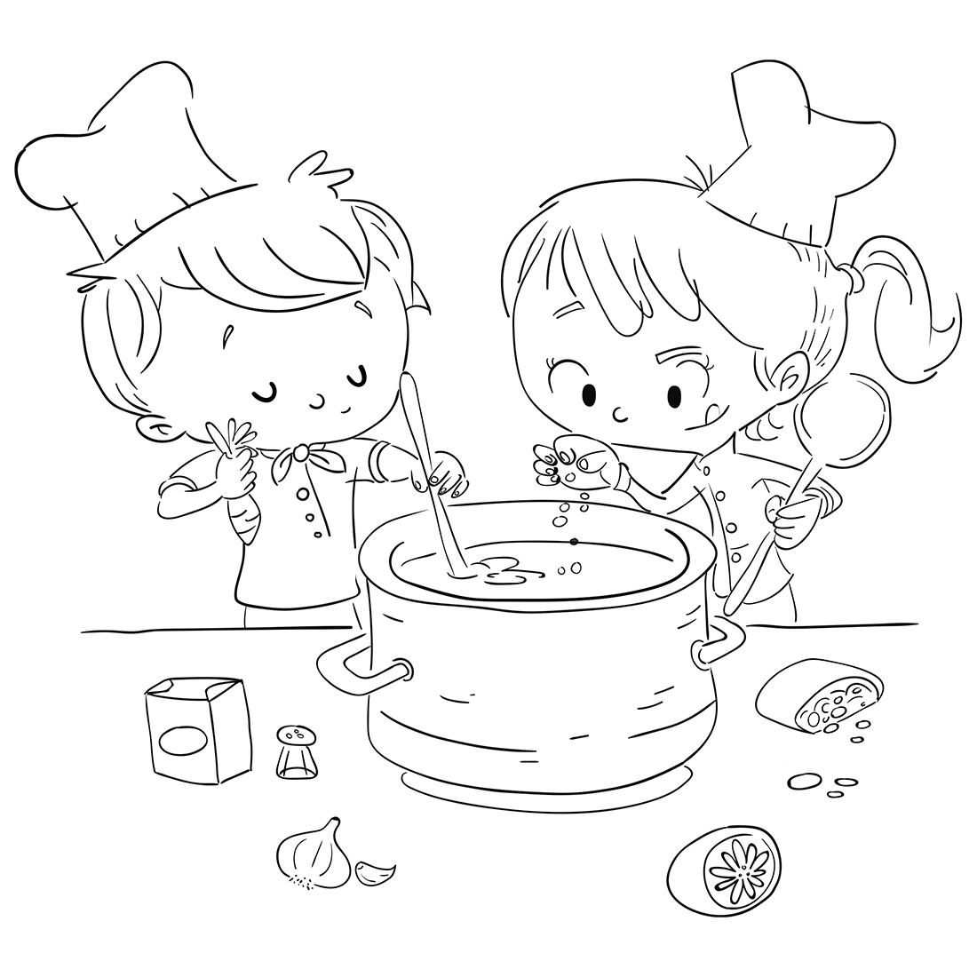 Chinese New Year Girl Boy Traditional Coloring Pages Printable | 1100x1100