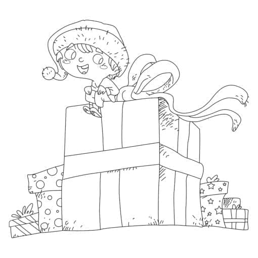 Boy sitting on various gifts with a Santa hat. Coloring page