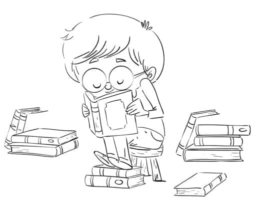 Boy with glasses reading a book. Coloring page