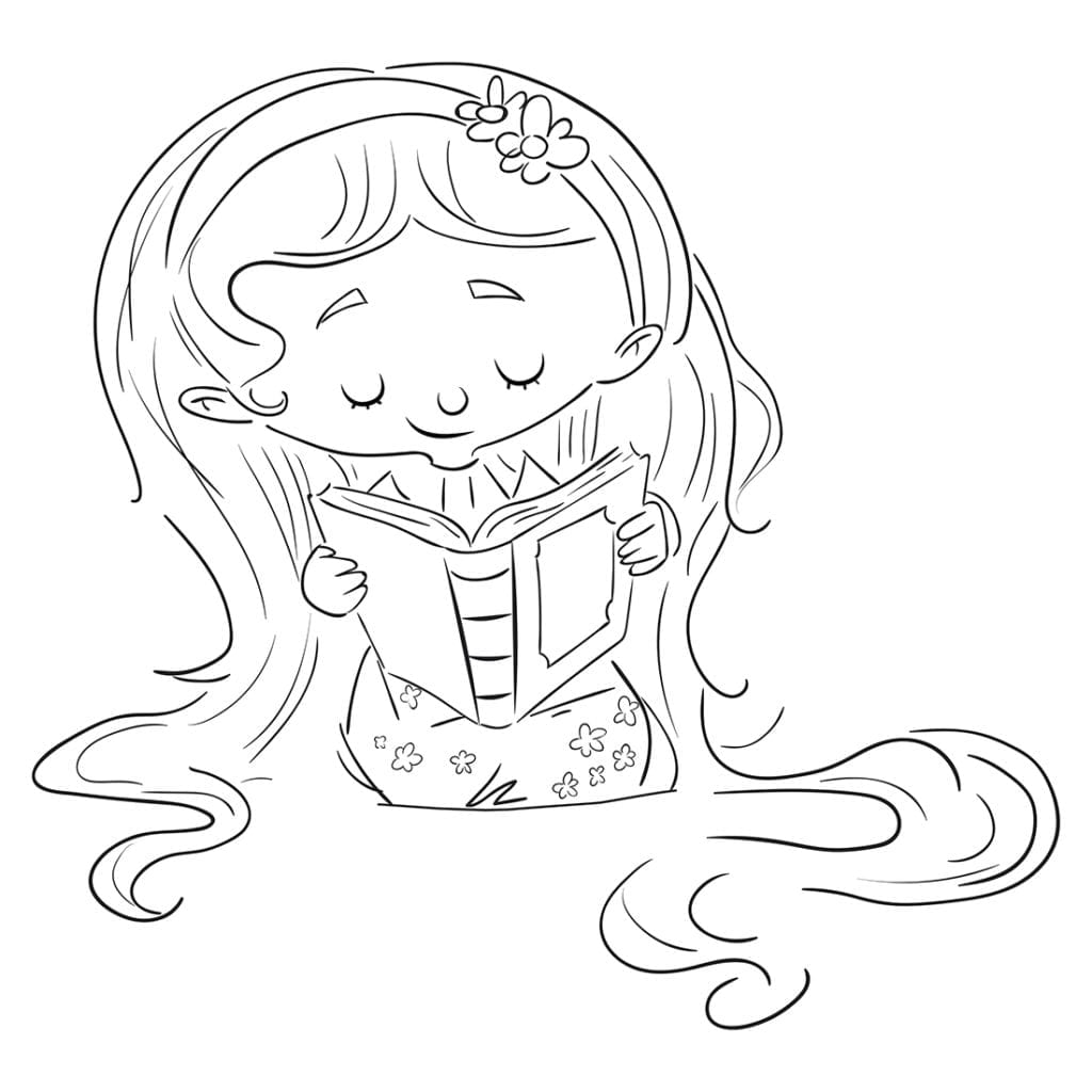 Girl with long hair sitting on the floor reading a book. Coloring page