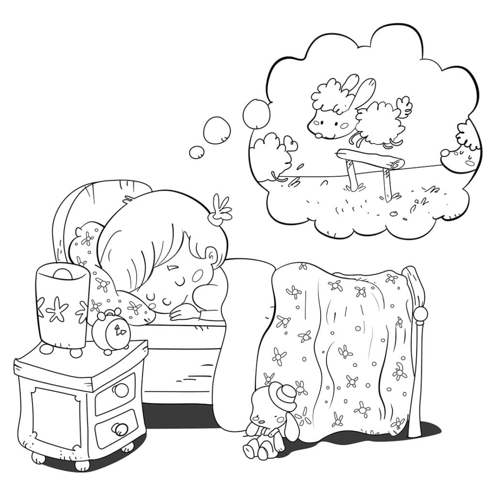 Little girl dreaming about sheep while falling asleep in her bed. Coloring page