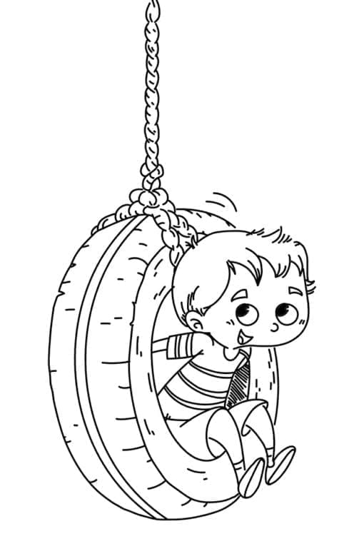 boy swinging on a wheel coloring page