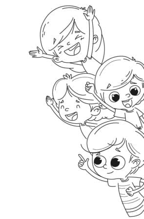 group of children waving coloring page