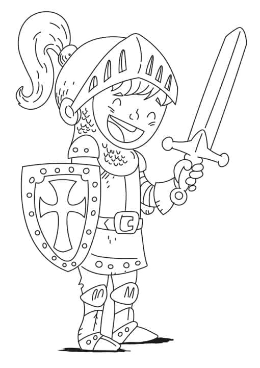 knight in armor drawing for coloring