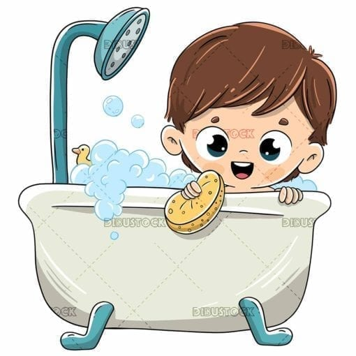 Boy bathing in the bath with foam
