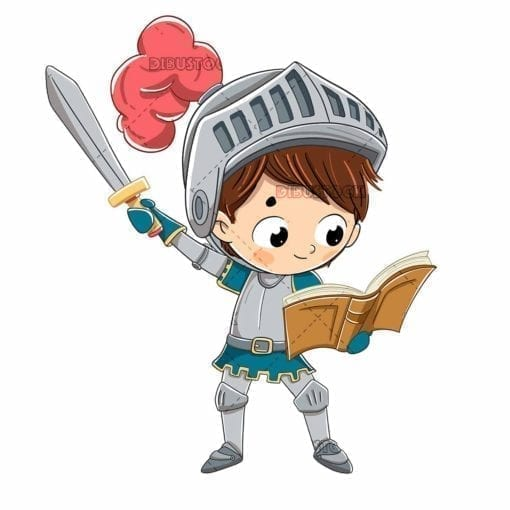 Boy dressed as a Sant Jordi knight with a sword and a book low