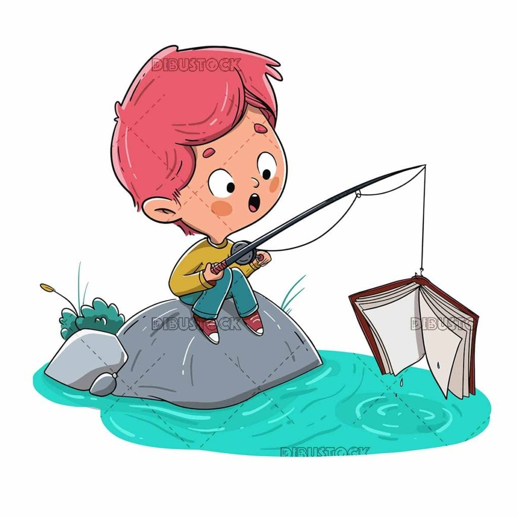 Boy fishing a book in the river