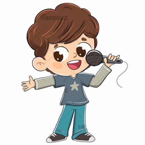 Boy singing into a microphone or doing a presenting