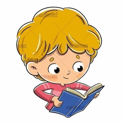 Cheerful and curious boy a reading book 1