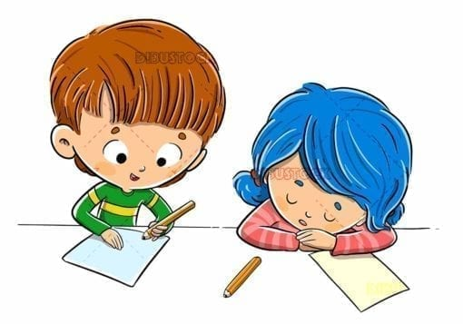 Children in class doing homework and tired