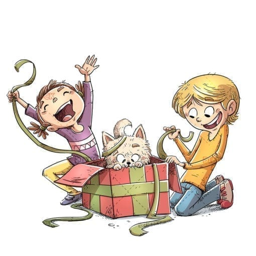 Children opening a gift with cat inside