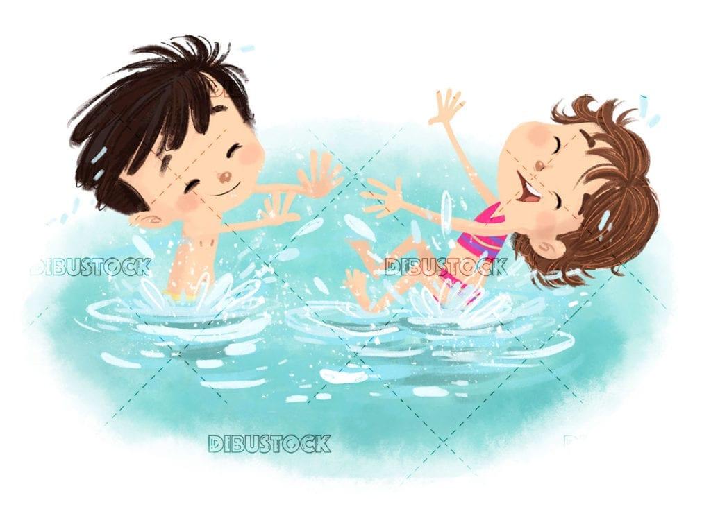 Children playing in the water splashing