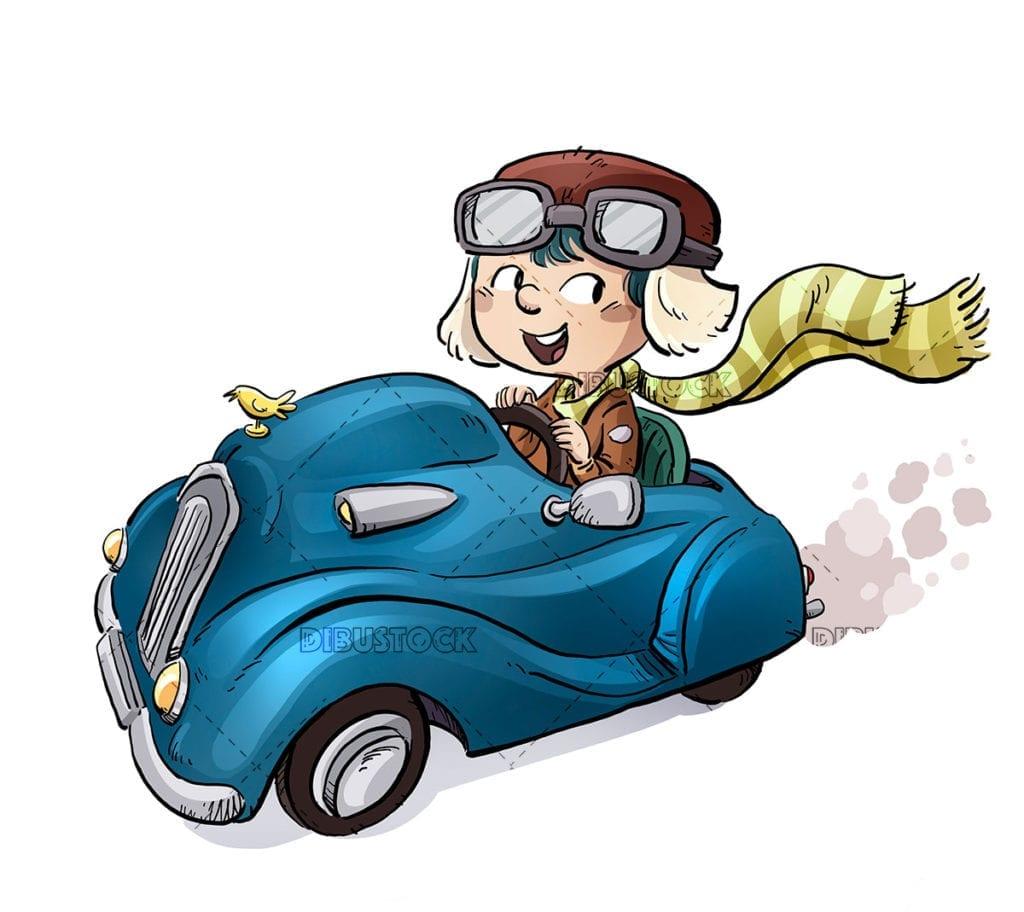 Little boy driving a car