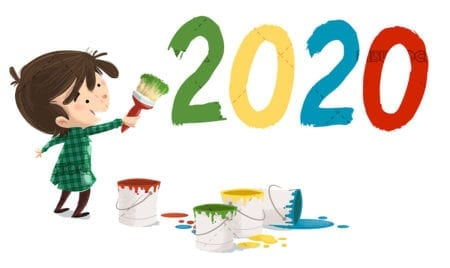 Little boy painting the new year 2020