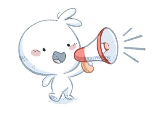 Little boy with megaphone talking