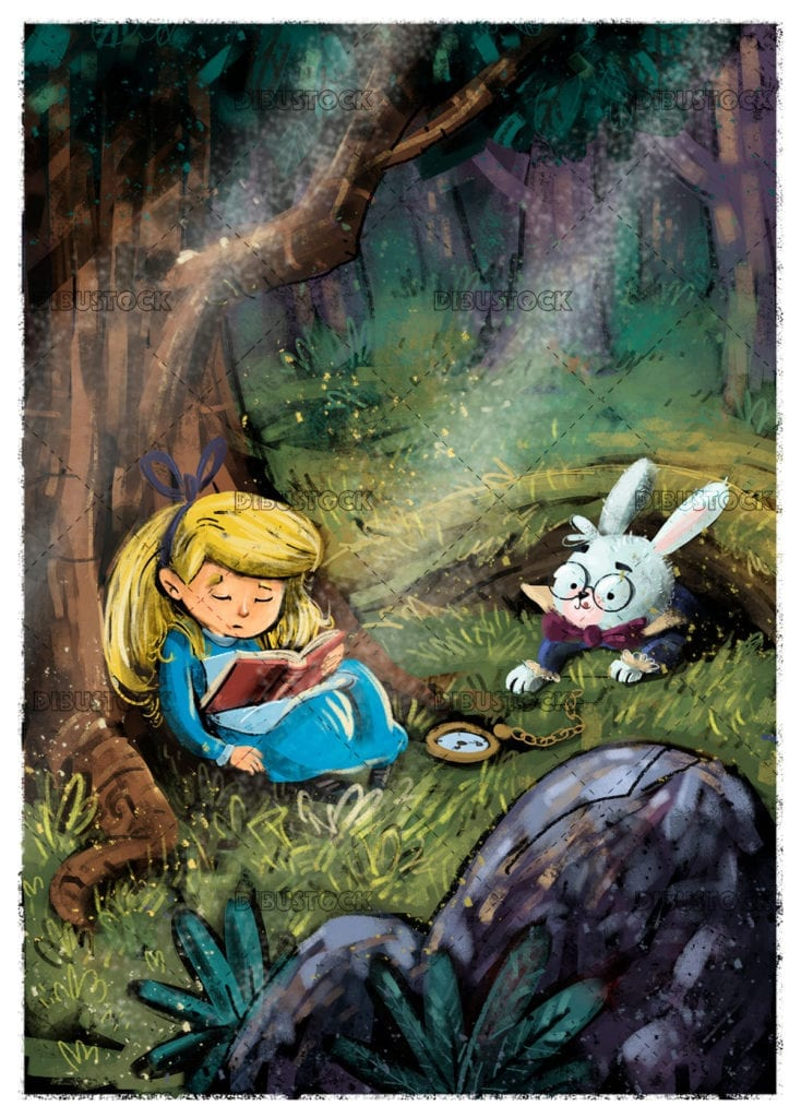 Little girl asleep in the woods with book and rabbit