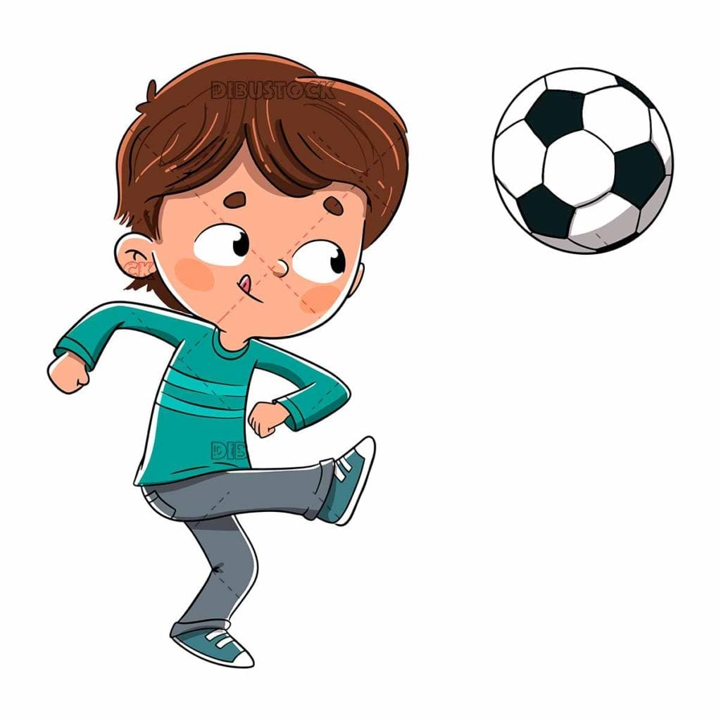 boy playing soccer kicking the ball low