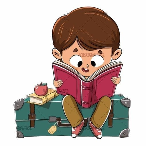 boy reading sitting on suitcase low