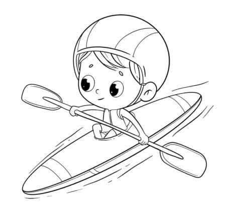 boy riding a canoe or kayak doing sports in the river to color low