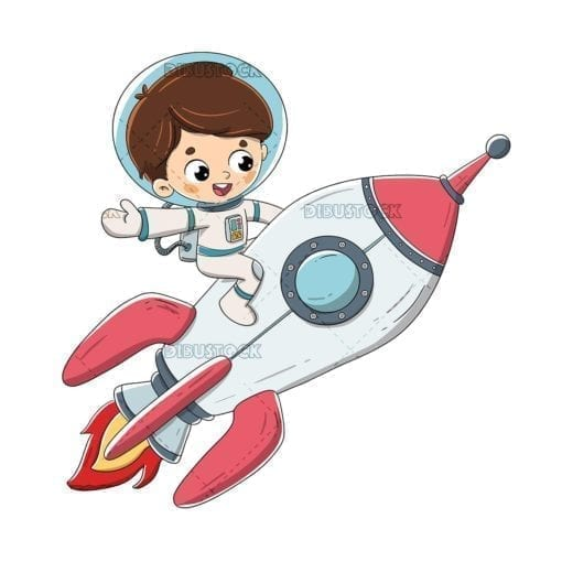boy riding a rocket traveling through space low