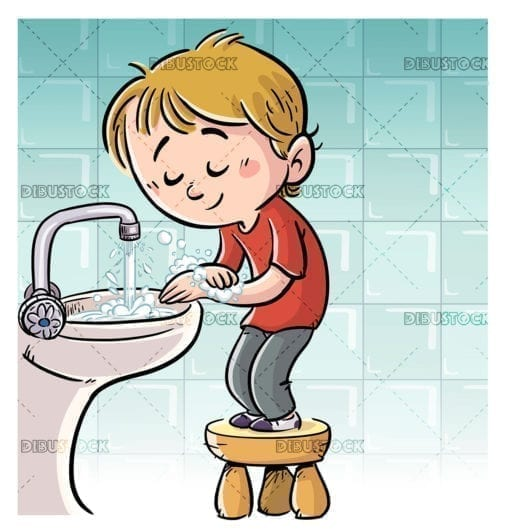 boy washing his hands with soap 1