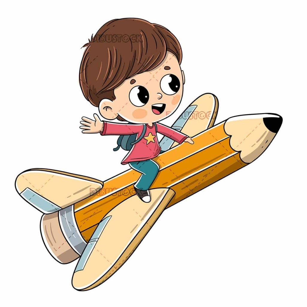 child flying sitting on a pencil with wings low