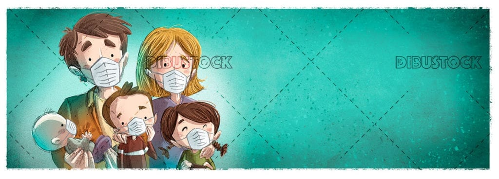 family with virus protection mask