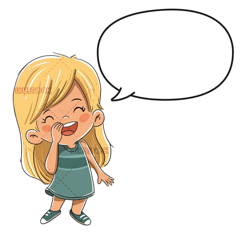 girl talking to a comic speech bubble low