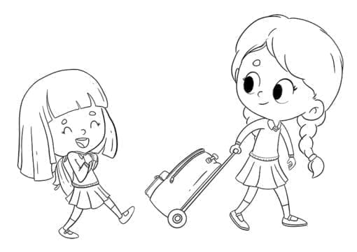 girls on the way to school to color low