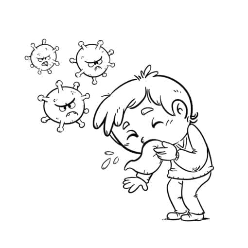 kid sneezing and spreading virus 20coloring low