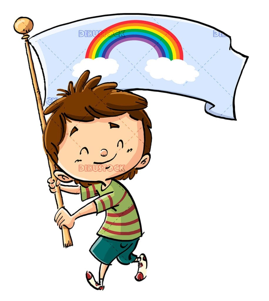 kid with rainbow on flag 1