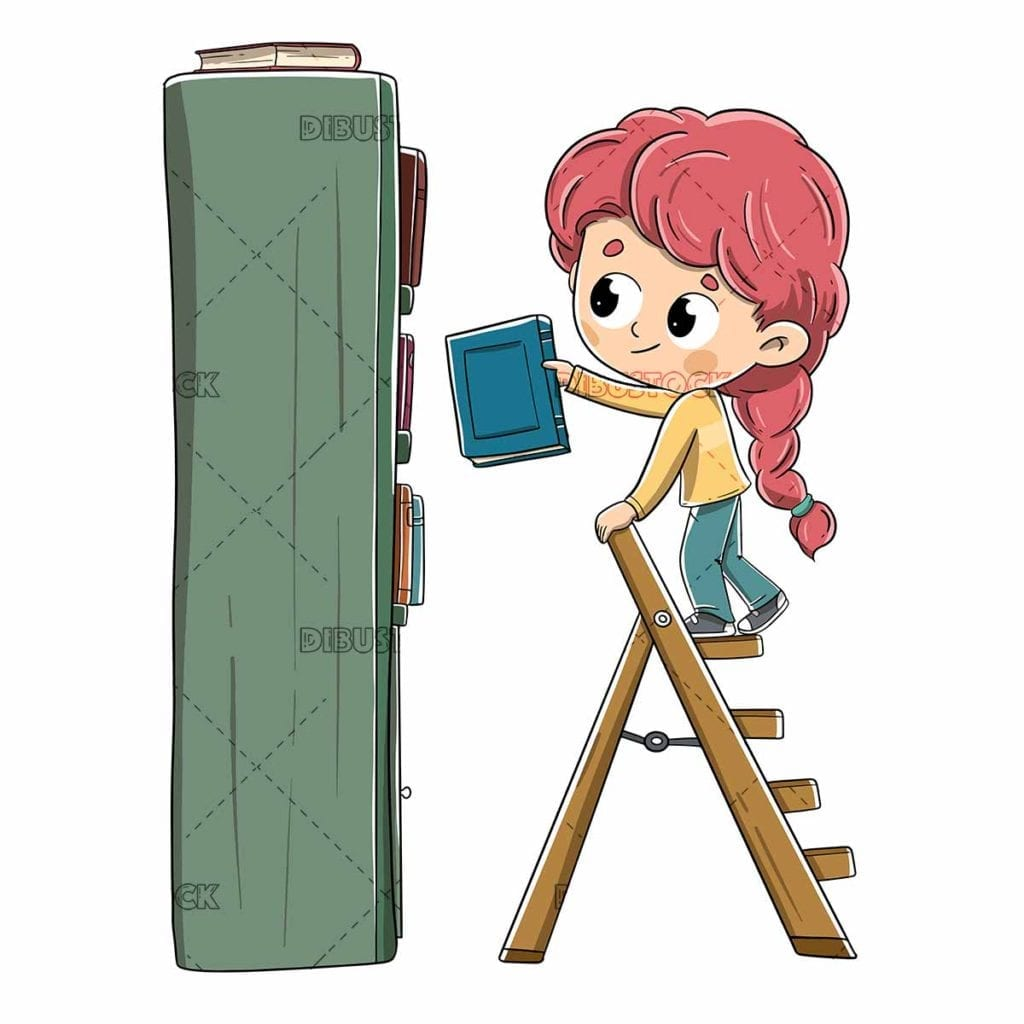 little girl putting a book on the bookshelf