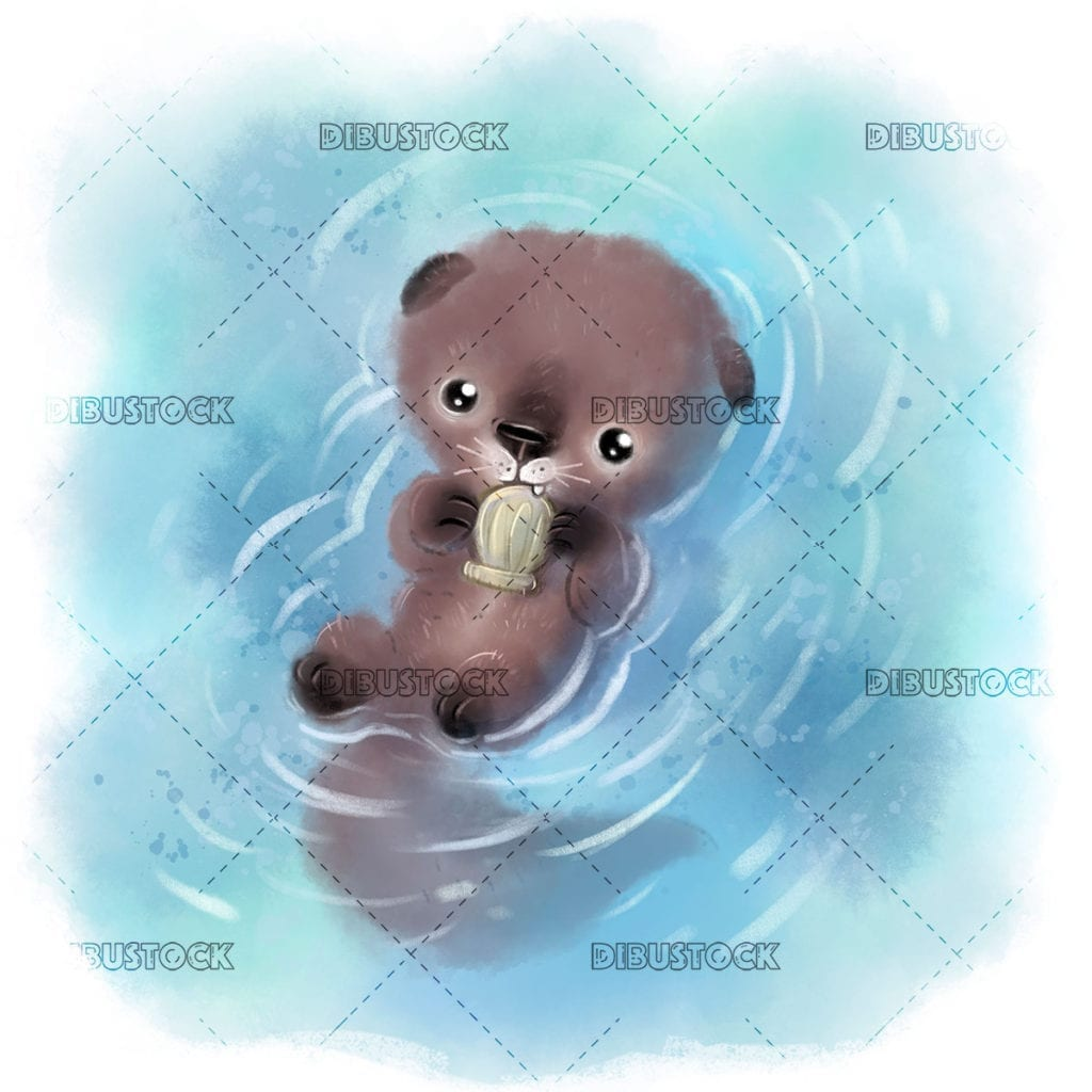 sea ​​otter with clams in the water