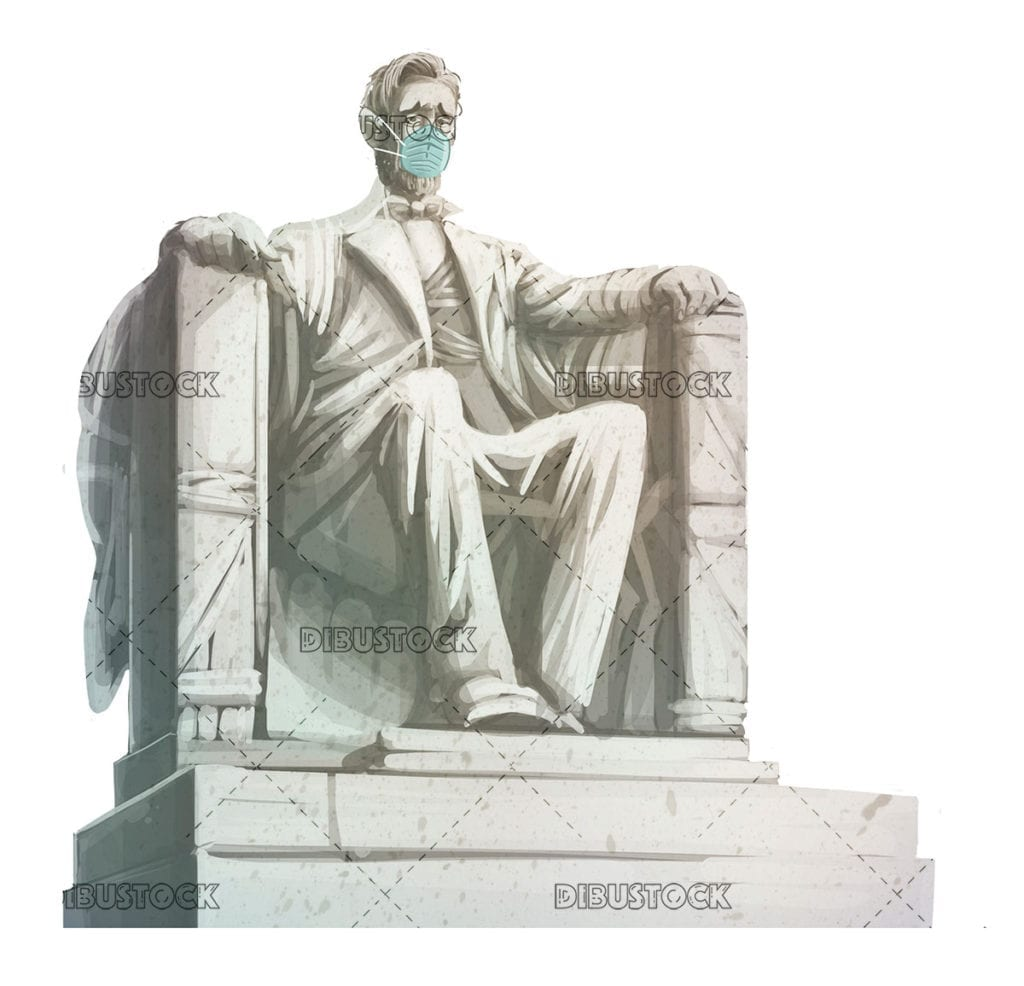 statue of abraham lincoln with mask against viruses