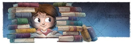 student boy surrounded by many books
