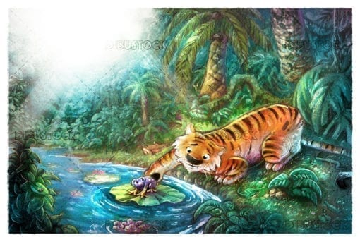 tiger playing with a frog in the jungle