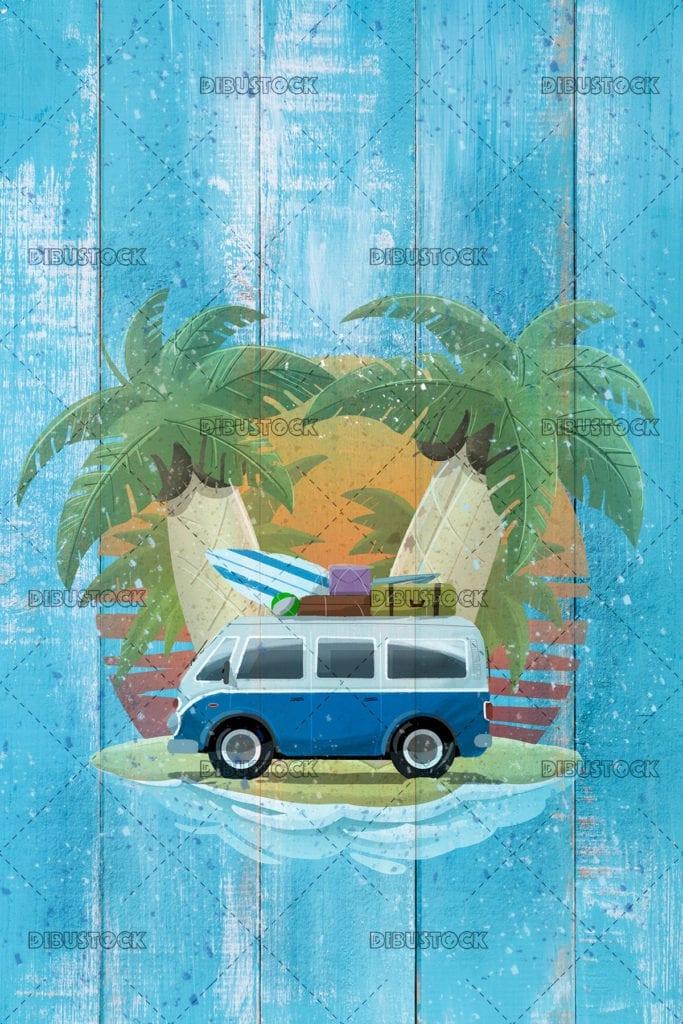 van on the beach 1