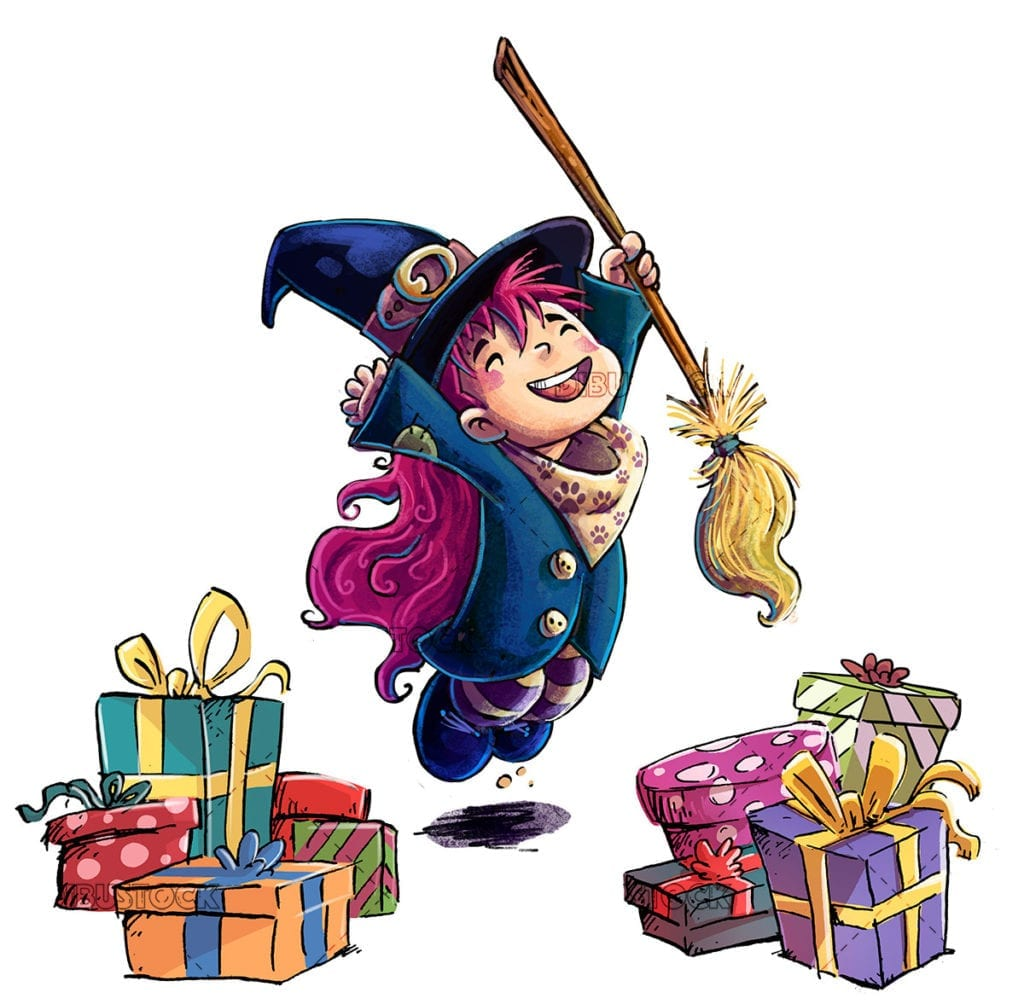witch with gifts at christmas