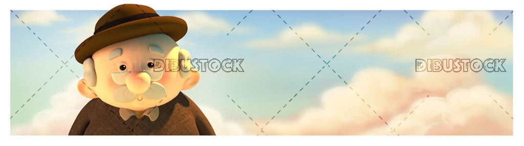Adorable grandfather face with a cloud background. 3d illustration