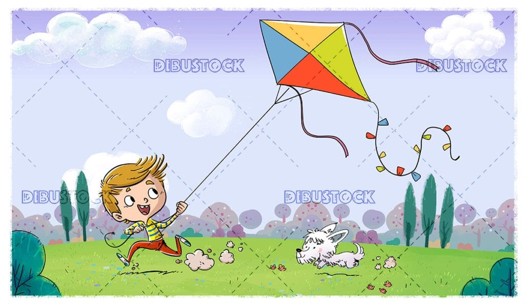 Boy and dog playing with a kite in the field