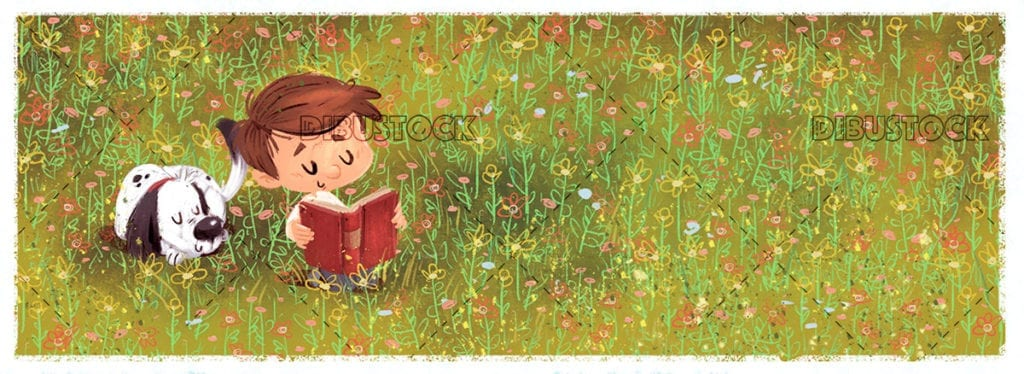 Boy and dog reading a book in the field