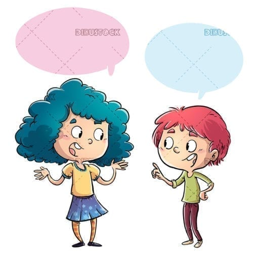 Boy and girl talking happy