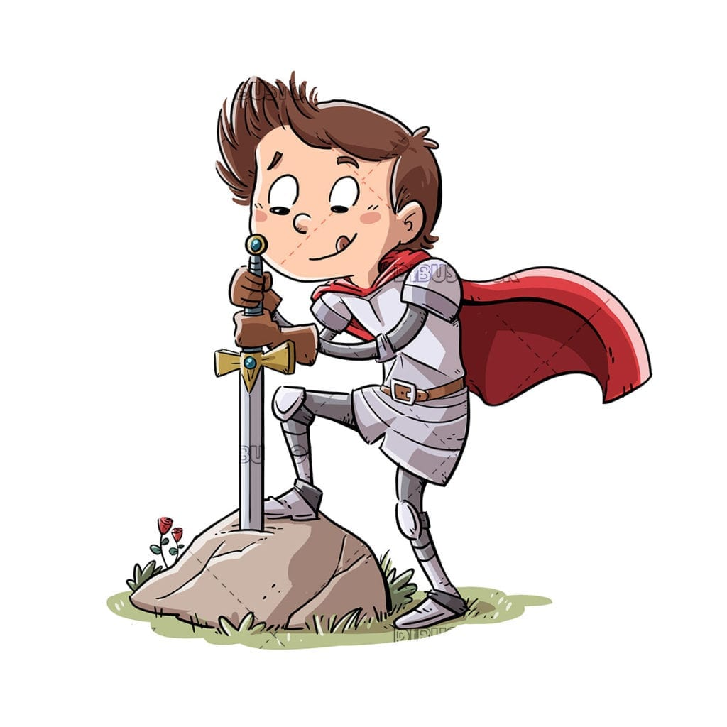 Boy knight drawing a sword from the rock