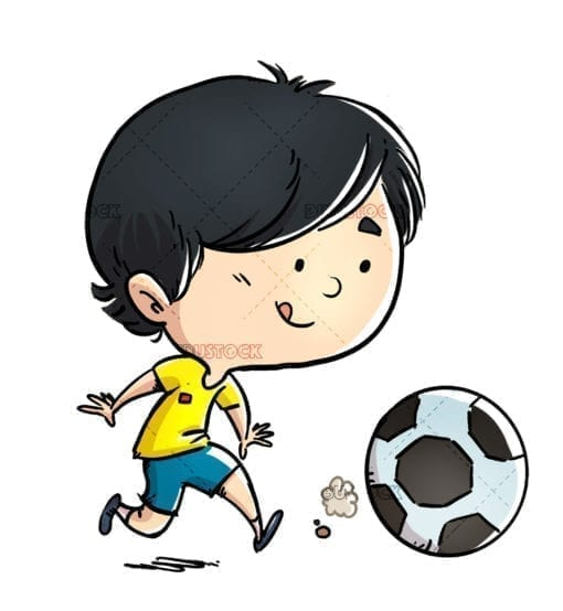 Boy playing with soccer ball isolated