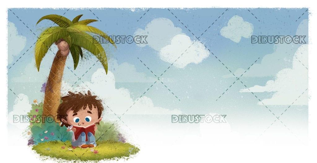 Boy reading under a palm tree