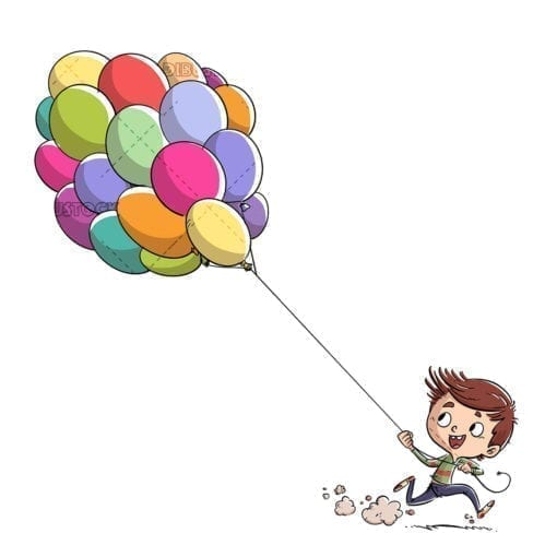 Boy running with colored balloons