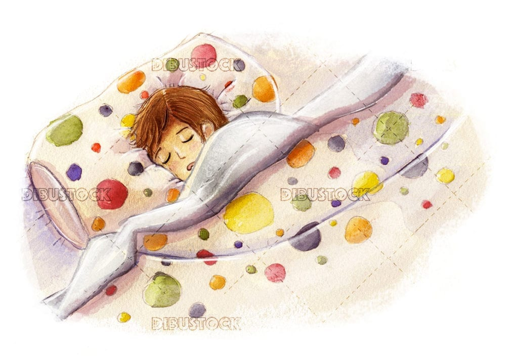Boy sleeping in bed in watercolor