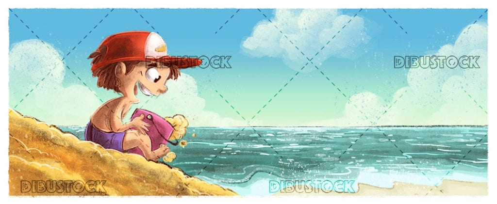 Boy with cap playing on the beach